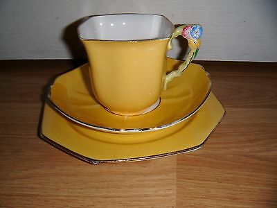 Vintage Royal Stafford Yellow Trio ~ Cup Saucer & Plate ~ Flower Handle ~ RARE