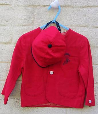 vintage boys jacket and cap 50's red alternative christening outfit age 2 red