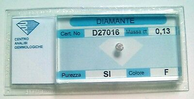 Diamante naturale certificato in blister ct. 0.13 F SI
