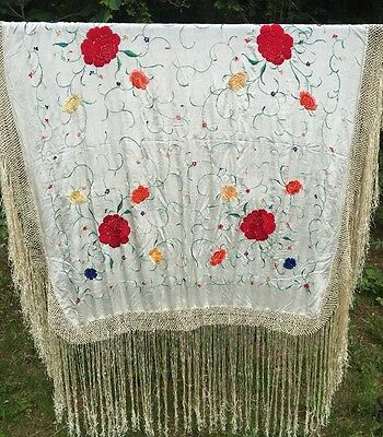Antique Ivory Silk Piano Scarf Shawl Embroidered Flowers  Flapper Canton