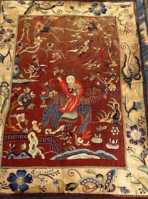 Antique Chinese Qing Dynasty Times Art  Textile Rare Wall Hanging