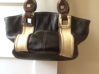 Tignanello Black Pebbled LEATHER Satchel Shoulder Bag Purse