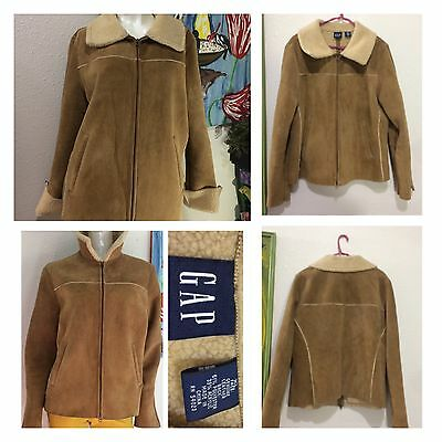 Vintage Women's Genuine SHEARLING Suede Leather JACKET Coat Lg XL Gap