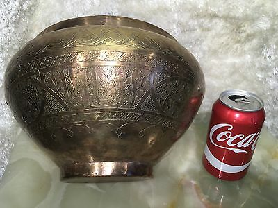 Vtg Antique Brass Islamic Bedouin Arabic  Bowl Middle Eastern W Islamic Writings