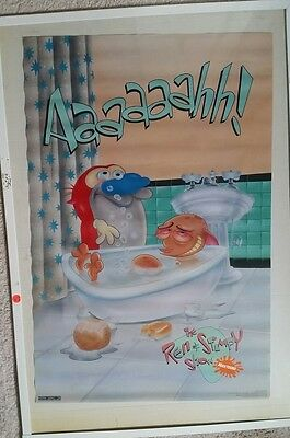 """Rare. New 1993 Ren And Stimpy """"bath Time"""" Poster. 21 X 32."""