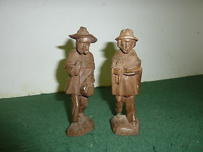Pair of 15 cm Hand Carved Figurines of Men