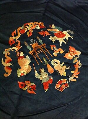 Antique Chinese Silk Rare Hand Embroidery Textile Figures Wall Hanging Art