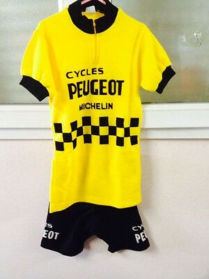 Maillot Cyclisme +Cuissard - Team Peugeot Cycles- Ancien-Vintage- Taille Enfant