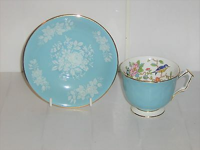 Beautiful Aynsley Cup & Saucer - Turquoise Blue