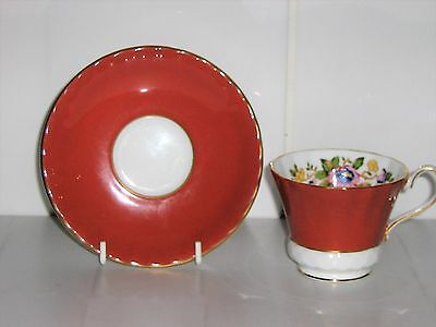 Beautiful Aynsley Cup & Saucer - Maroon Red