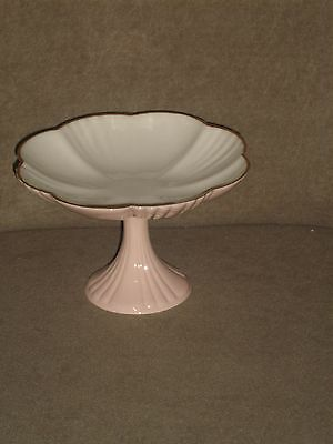 Vintage Lenox Light Pink W/ Ivory Interior Compote Old Lenox Made In Usa Mark