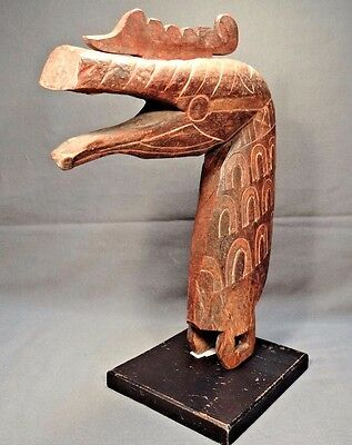 20th Century Sumatra Indonesian Carved Wood Horse/Dragon Head Statue