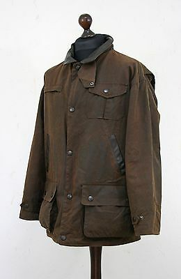 BARBOUR Men's A1551 Bushman Waxed Jacket Brown Sz XL X Large Leather Trim