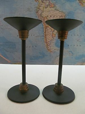 "Vintage Art Deco Black Metal and Brass Candlestick Holders(2) 7.5"" H x 3.5"" Base"