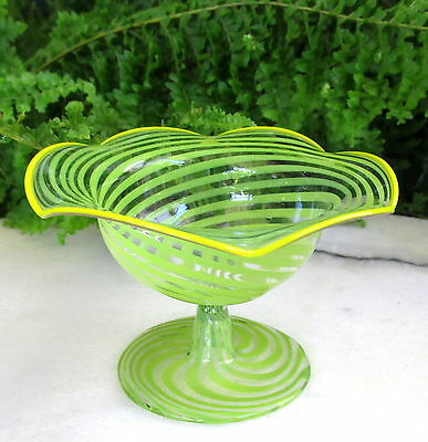 Nice Bimini Glass Footed Open Salt Dish / Dip Excellent Condition!