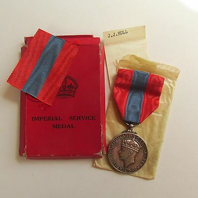 IMPERIAL SERVICE MEDAL - GEORGE VI 1938-1948 - James John Hunt - Solid Silver