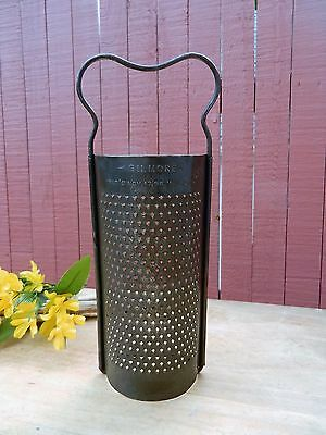 Grater Half Round GILMORE 1897 Punched Holes Tin Grater CHEESE VEGETABLE Antique