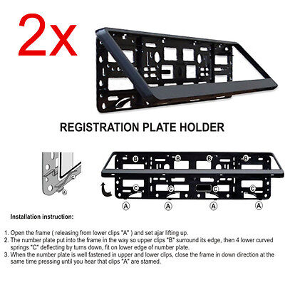 2x Quality Black ABS Plastic Car Registration Number Plate Surround Frame Holder