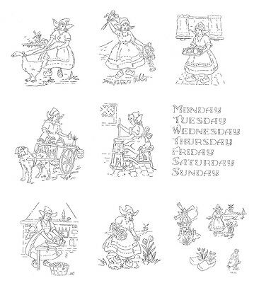 Vintage Embroidery transfer repo 9196 Sunbonnet Applique Days of the Week towels
