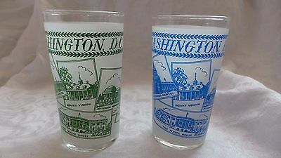 2 VINTAGE FROSTED WASHINGTON DC  STATE GLASS GREEN & BLUE EUC NR  Mid Century