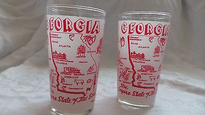 2 VINTAGE FROSTED GEORGIA STATE GLASSES RED EUC NR  Mid Century Daily Shipping