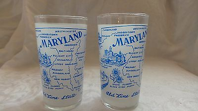 2 VINTAGE FROSTED MARYLAND STATE GLASSES BLUE EUC NR  Mid Century Daily Shipping