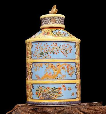 chinese ancient Colored enamel porcelain sculpture Flowers and birds The tea pot