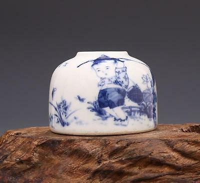 chinese ancient Blue and white porcelain sculpture  child water pot