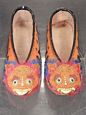 19th C. Qing [Ching] Dynasty Chinese Silk Embroidered Children's Shi-Lion Shoes