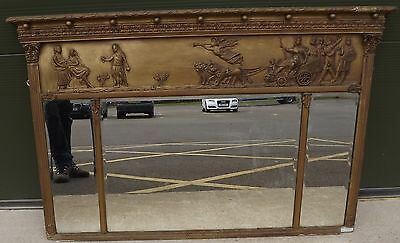 Antique Regency Neoclassical Gilt-Framed Decorative Overmantle Mirror