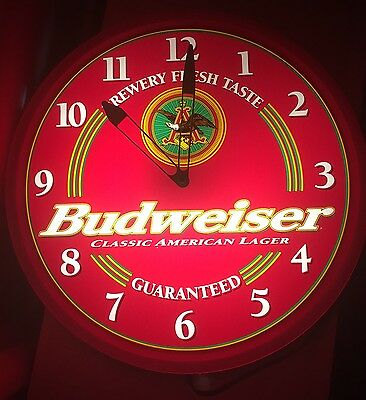 Vintage Budweiser King Of Beers Lighted Electric Wall Clock Sign EUC
