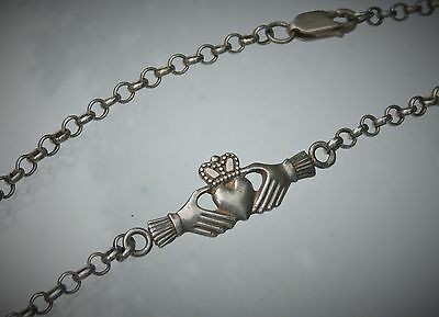 "Ireland JMH Signed 10 1/4"" Sterling Silver Celtic Claddagh Bracelet Anklet"