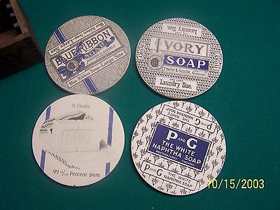 Vintage  IVORY SOAP Coasters w/ Box Holder Employee Gift Only) Advertise P & G