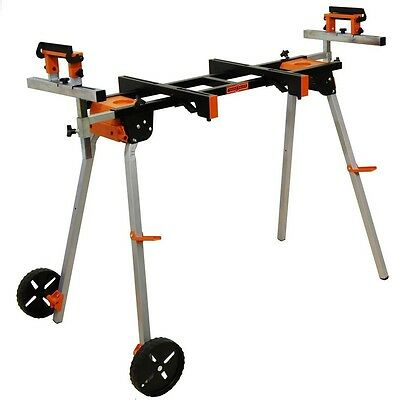 Mobile Miter Saw Stand with 3 Onboard Outlets and Mounting Attachments Steel