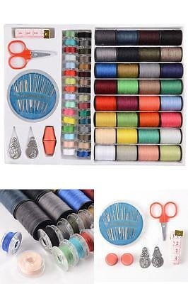 100PC Home Sewing Kit Threads Threader Needle Tape Box Measure Scissor Thimble