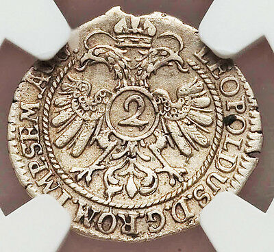 1694 Silver Germany Nurnberg 2 Kreuzer Hammered Coin NGC Extremely Fine 45