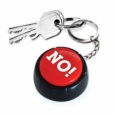 The No Button Keyring Quirky Novelty Prank Office Desk Pre Recorded Fun Joke New