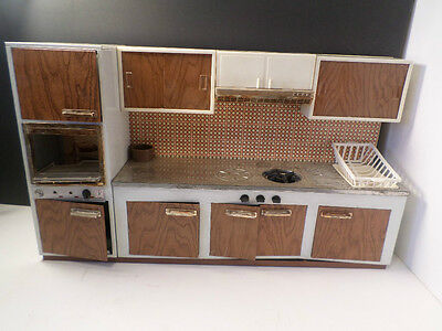 Vintage Fuchs Made In W Germany Tin Litho Metal Kitchen Play Set oven cabinet