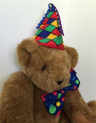 """Vermont Celebration Teddy Bear w/ Birthday Hat and Tie Jointed Logo Eyes 15"""""""