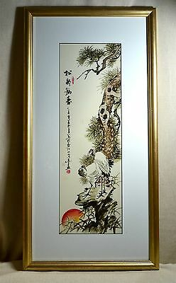 Vintage CHINESE JAPANESE Hand Painted PORCELAIN Framed Picture CRANES, signed