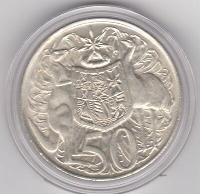 """1966 SILVER ROUND FIFTY Cent """" 50c """"  In a Capsule"""