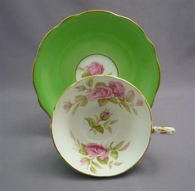 E Brain Foley English Bone China Tea Cup & Saucer GREEN w/ PINK ROSES Buds
