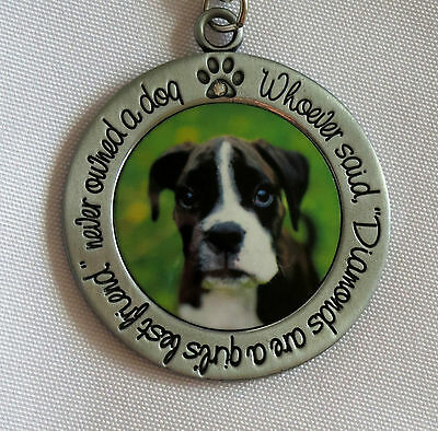 BOXER Key Chain Whoever Said Diamonds Are Girl's Best Friend Never Owned Dog New