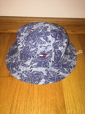 New With Tags Vintage Tommy Hilfiger Youth Bucket Hat Blue Logo Tiki