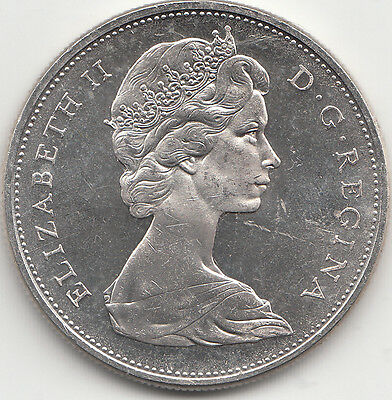 Canada 1965 Silver Dollar Blunt Five Small Beads Cameo .