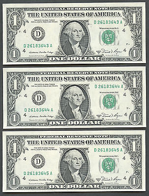 3 Consecutive 1981 $1 Dollar Cleveland Federal Reserve Notes Uncirculated 3643