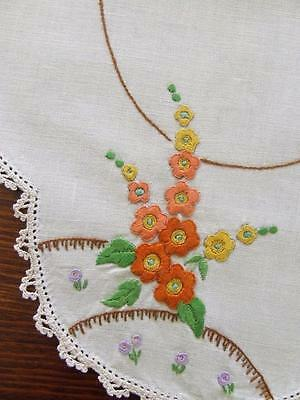 Gorgeous Hand Embroidered Centre Doily Orange & Yellow Hollyhocks Crochet Edge