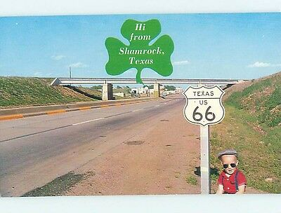 Pre-1980 ROUTE 66 HIGHWAY SIGN Shamrock Texas TX hJ6443