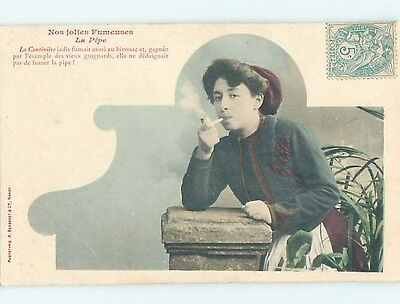 Pre-1907 suffrage interest WOMAN SMOKING A TOBACCO PIPE JUST LIKE MEN HL7310