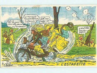 1945 military signed ARMY SOLDIER RIDES WWII MOTORCYCLE IN FRANCE HL9759
